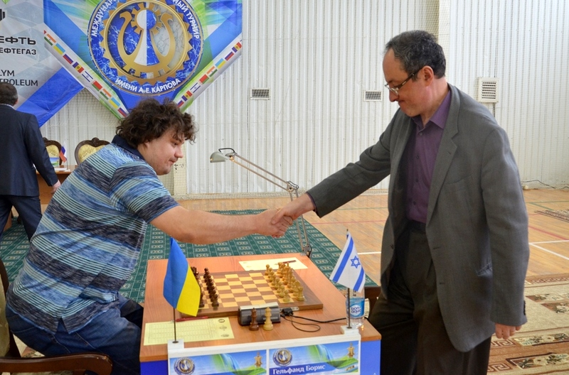 Boris Gelfand and Anton Korobov during the sixth round of the Karpov Poikovsky International
