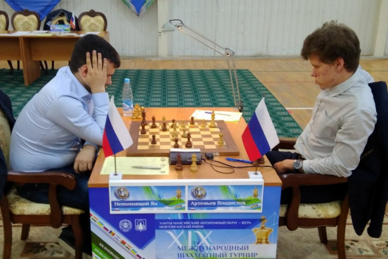 Nepomniachtchi and Artemiev during their penultimate round game in Karpov Poikovsky International
