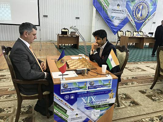 Vidit Gujrathi and Victor Bologan during their first round game at the Karpov Poikovsky Tournament