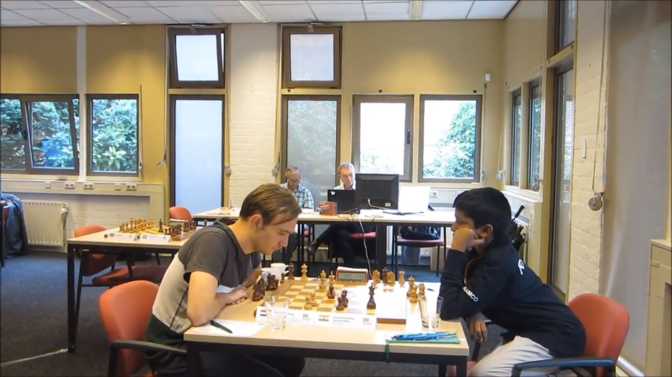 Praggnanandhaa playing against IM Hugo Ten Hertog at Schaakweek Apeldoorn