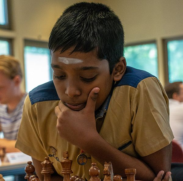 Praggnanandhaa during his fourth round game against IM Jose Rafael Gascon Del Nogal