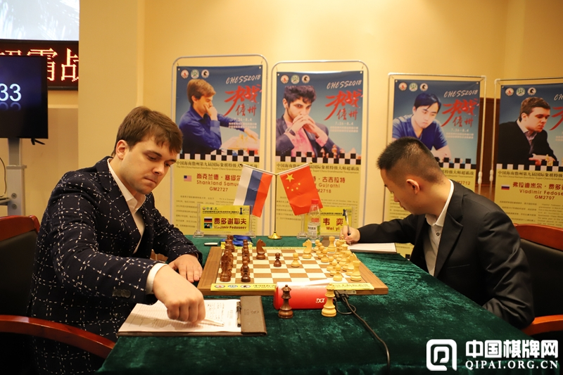 Vladimir Fedoseev playing against Wei Yi at the Danzhou Masters