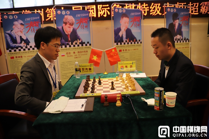Wei Yi in his game against Le Quang Liem in the fifth round of Danzhou Masters