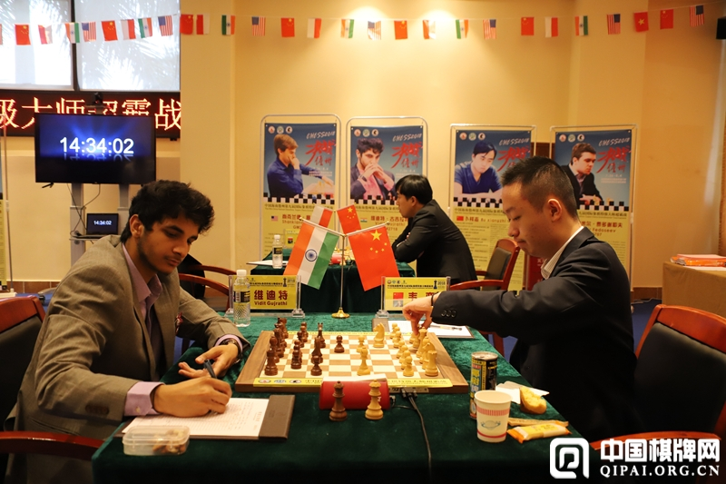 Wei Yi and Vidit Gujrathi during their game in the sixth round of the Hainan Danzhou Masters