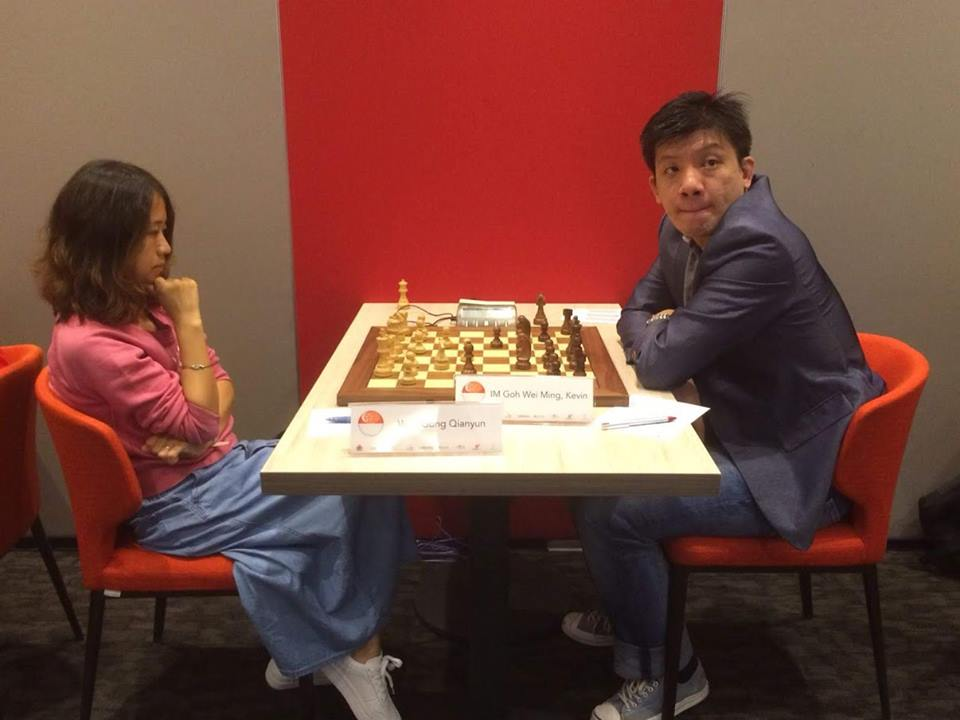 Gong Qianyun playing against Kevin Goh at the QCD-Prof Lim Kok Ann Grandmasters Invitational 2018