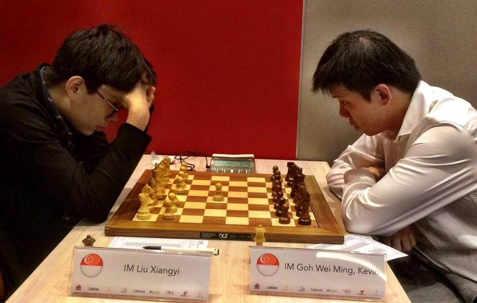 Liu Xiangyi playing against Kevin Goh in the final round of QCD-Prof Lim Kok Ann Grandmasters Invitational 2018