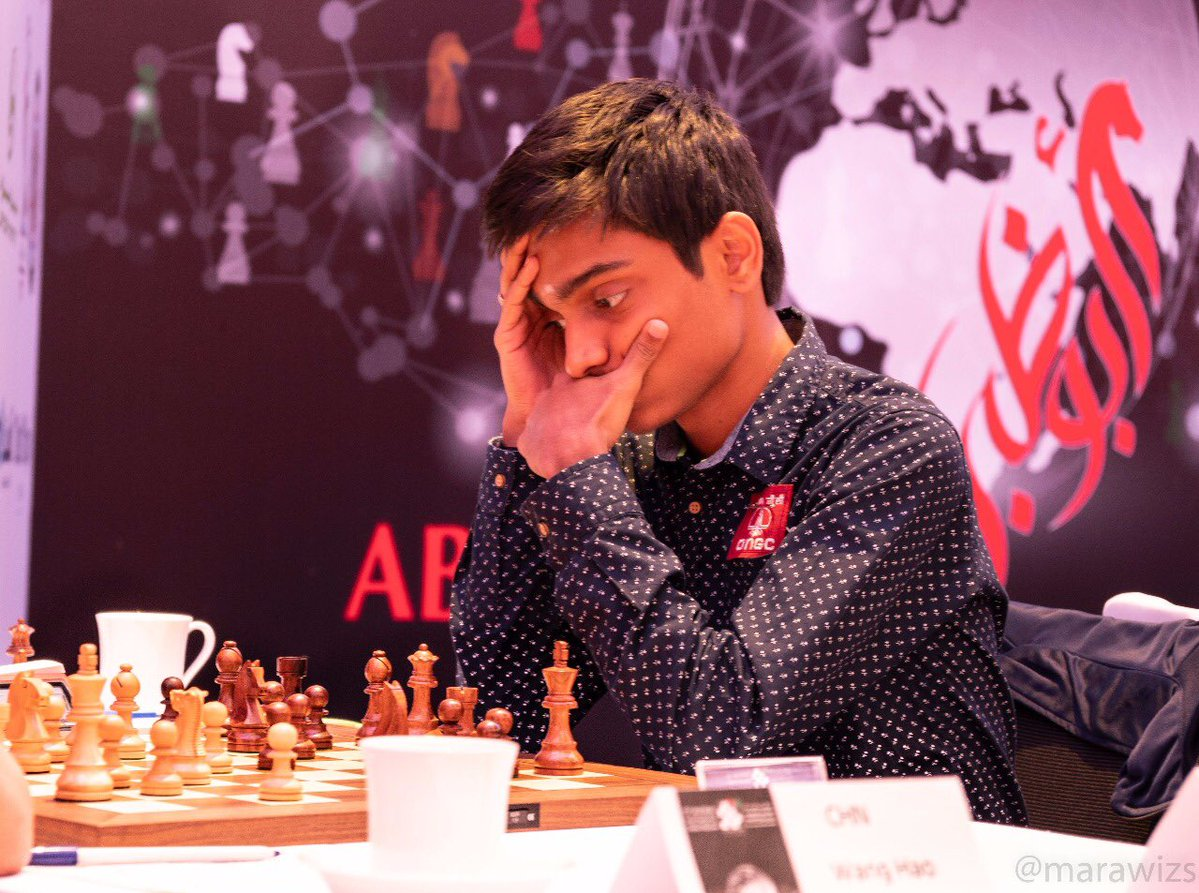 GM Aravindh Chithambaram during his final round game at the Abu Dhabi Masters 2018