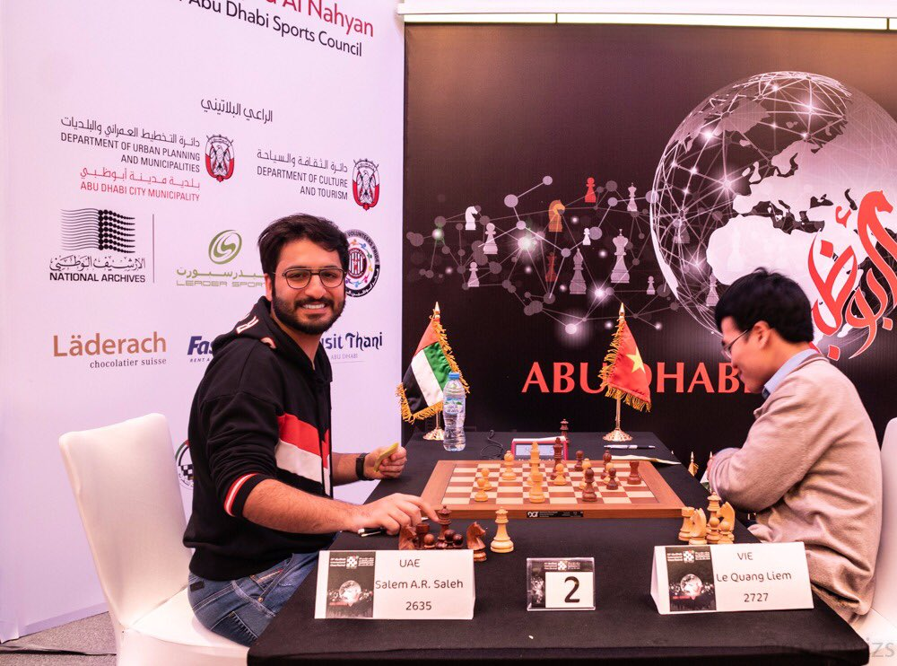 Salem Saleh and Le Quang Liem after their seventh round game at the Abu Dhabi Masters 2018