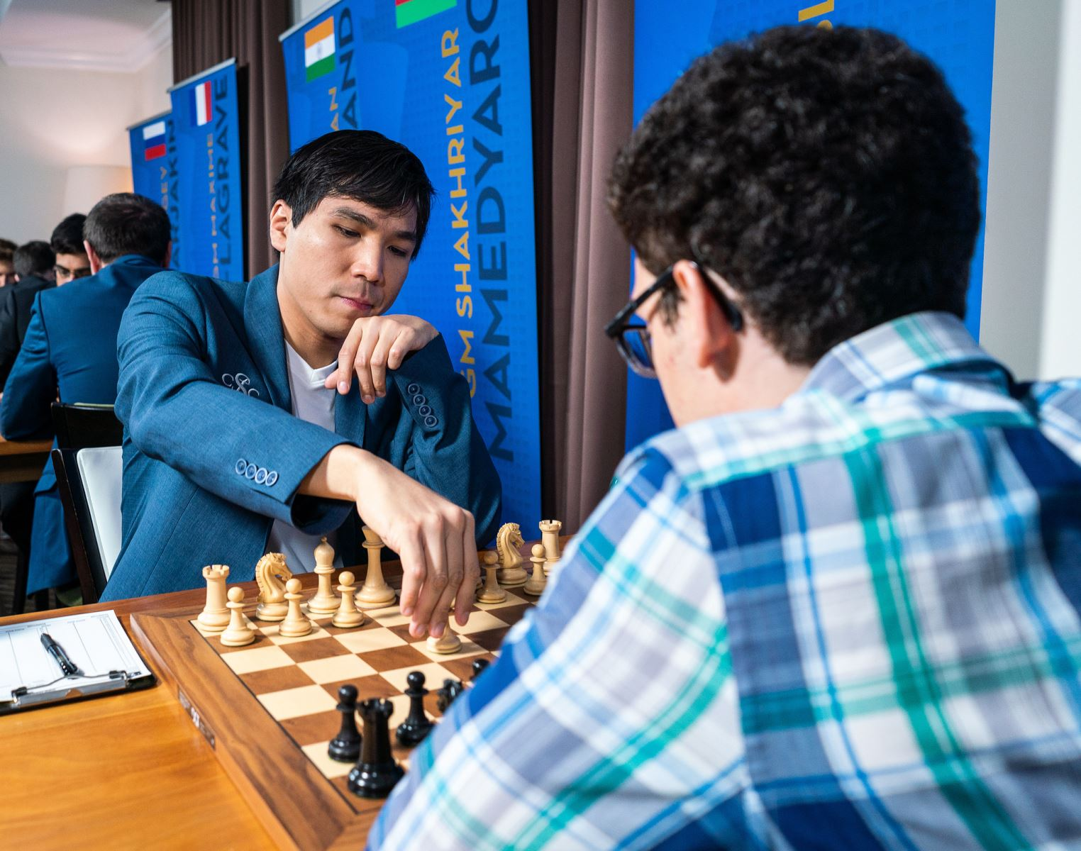 Wesley So beginning his final round game against Fabiano Caruana at the 2018 Sinquefield Cup