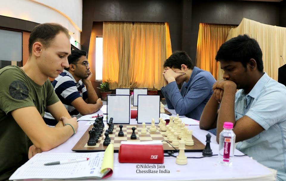 Vitaly Sivuk playing against Vignesh NR in round 9 of the Gujarat GM Open