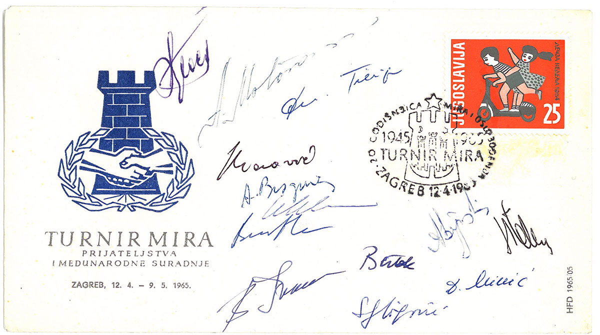 Postcard signed with players of the tournament 1965