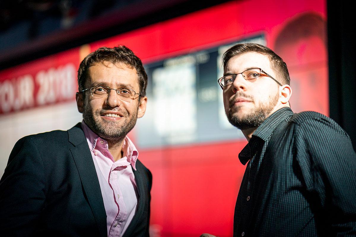 Levon Aronian y Maxime Vachier-Lagrave | Foto: Lennart Ootes