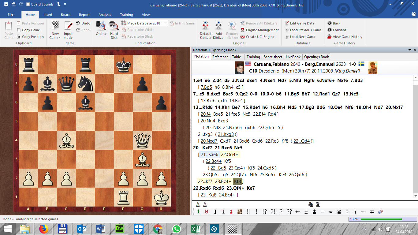 Game as it appears loaded in ChessBase