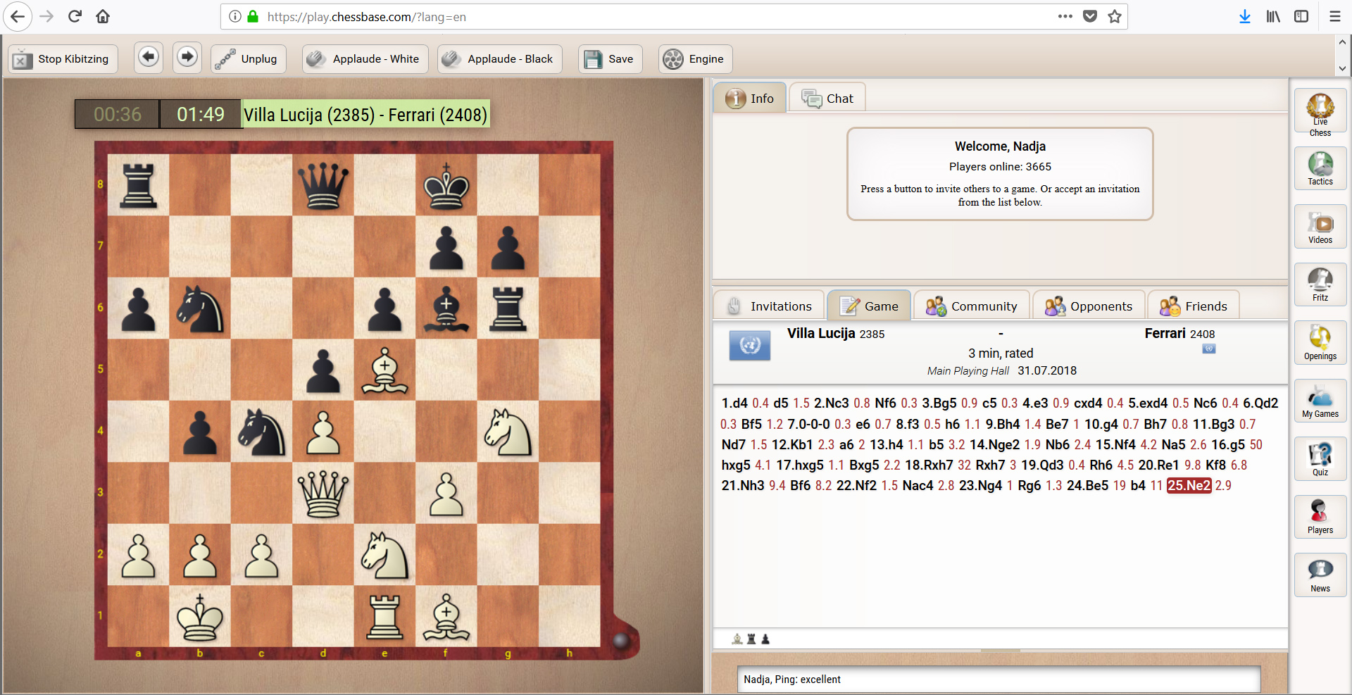 Play.chessbase.com screen