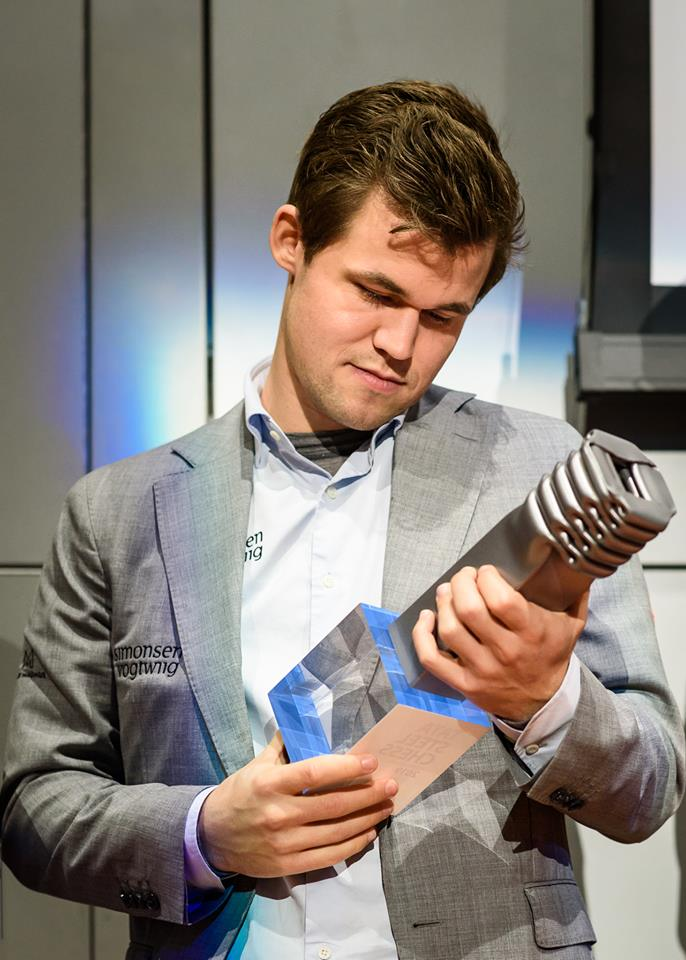 Magnus Carlsen with his seventh Tata Steel Masters trophy