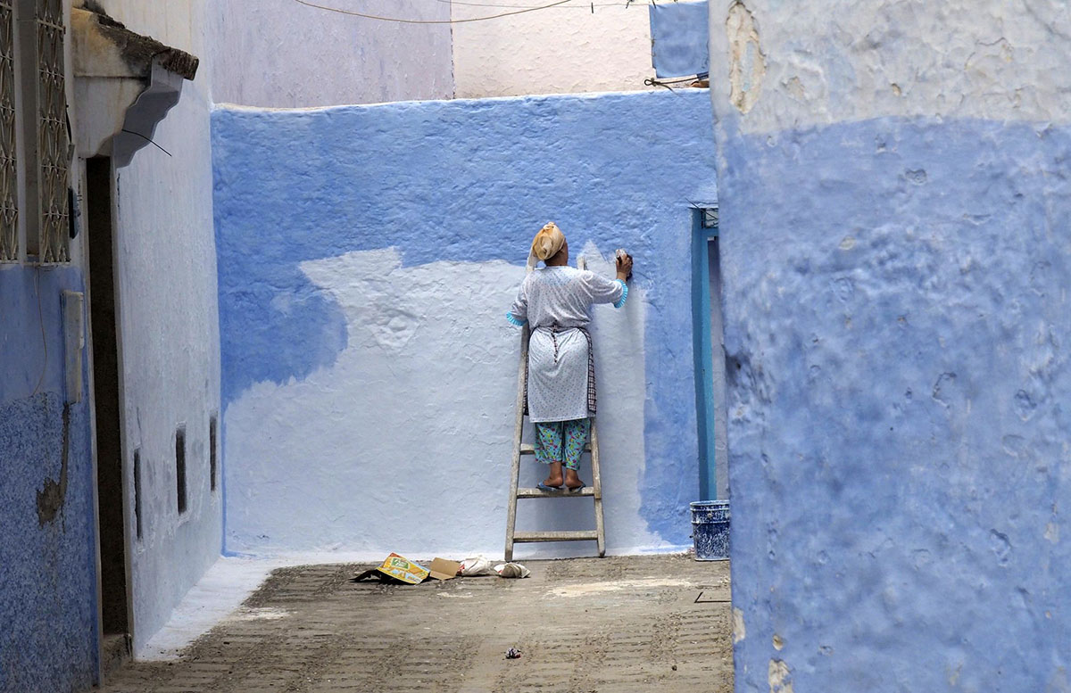 Painting in blue