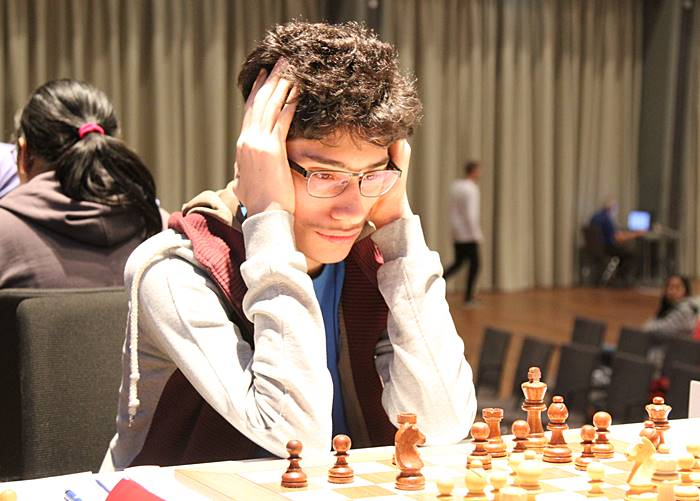 Firouzja during the first round of the Grenke Chess Classic