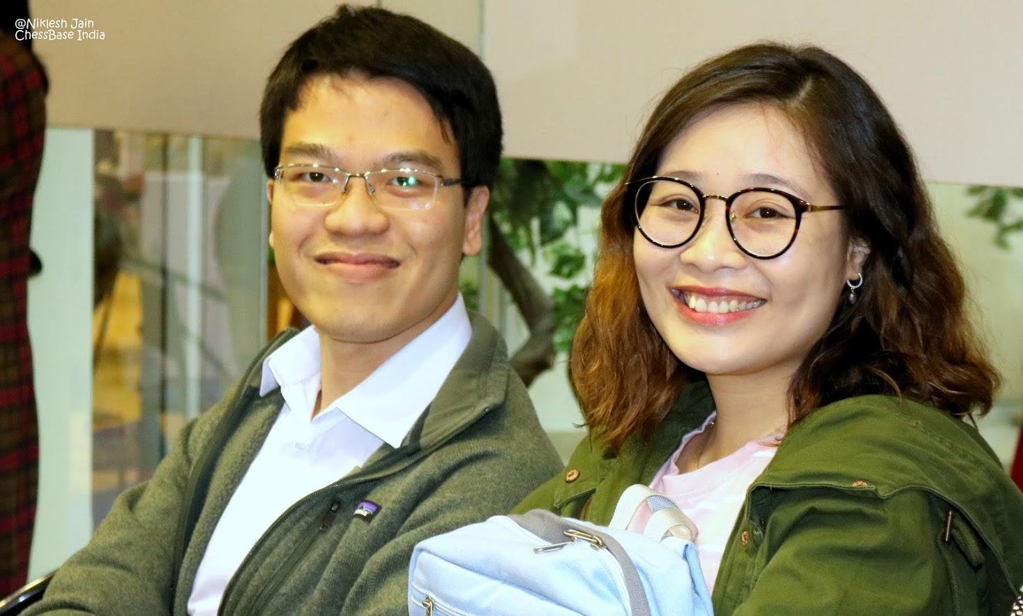 GM Le Quang Liem con su esposa  Thanh Trúc Nguyễn   Foto: Niklesh Jain