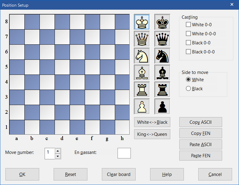Configurate position in ChessBase 15