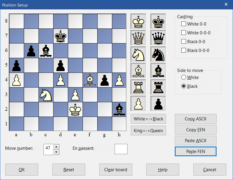 FEN code pasted into ChessBase 15 position window