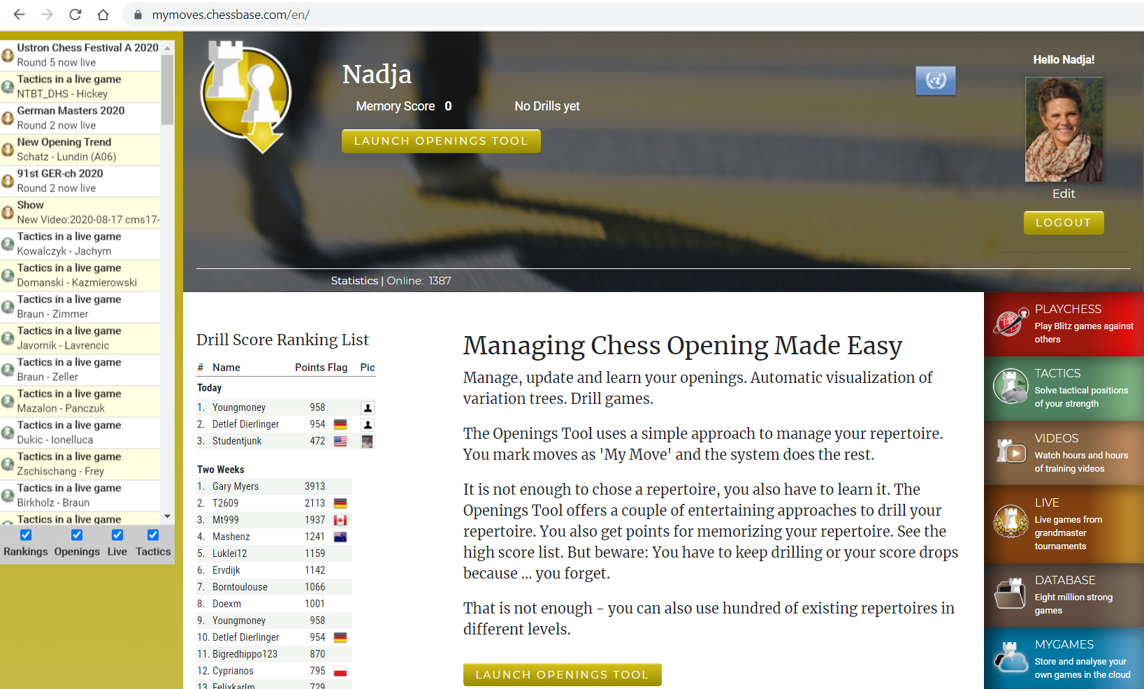 Opening training in the ChessBase Account web app