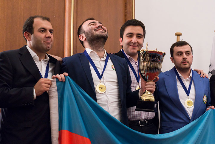 An ecstatic Mamedyarov with other members of the Azerbaijan Team