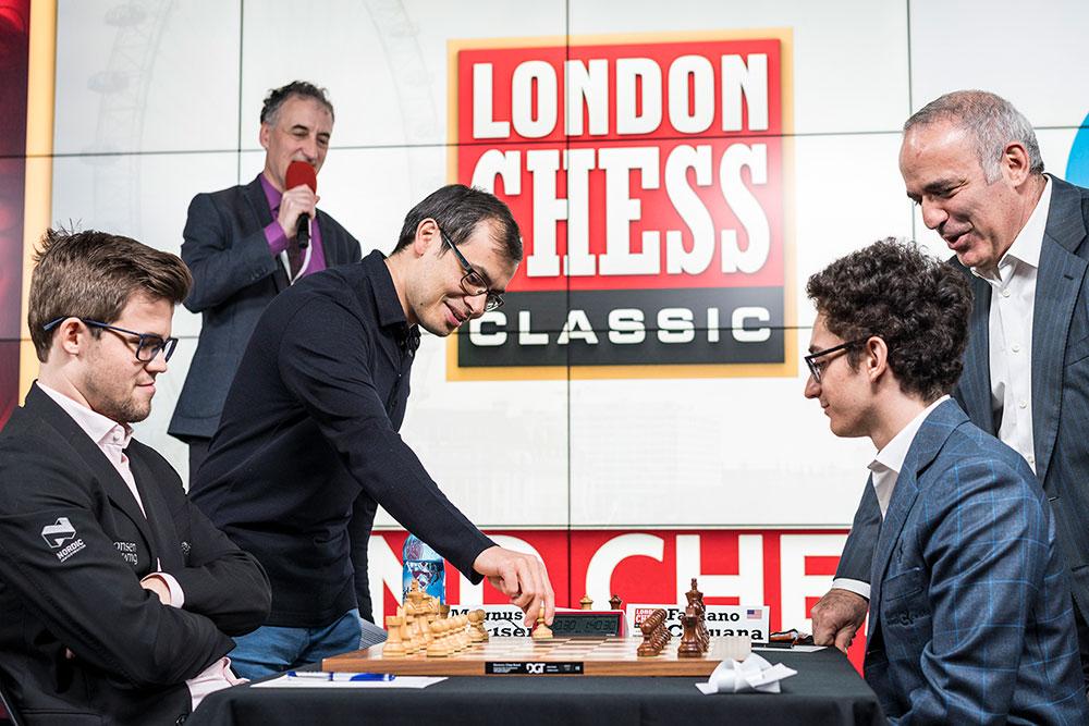 Demis Hassibis, Magnus Carlsen and Fabiano Caruana